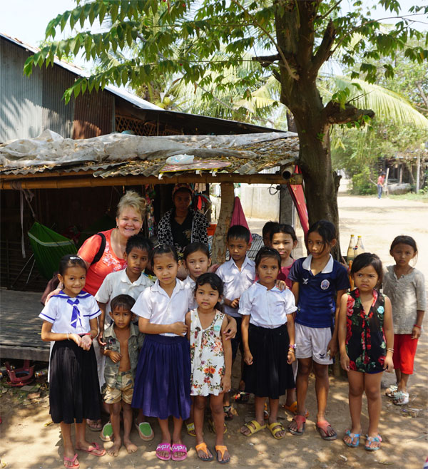 Sheila with Cambodian children